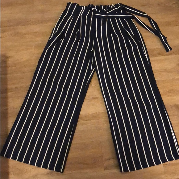 008798c049 Breeze Ever Pants | Navy Blue And White Striped Wide Leg | Poshmark